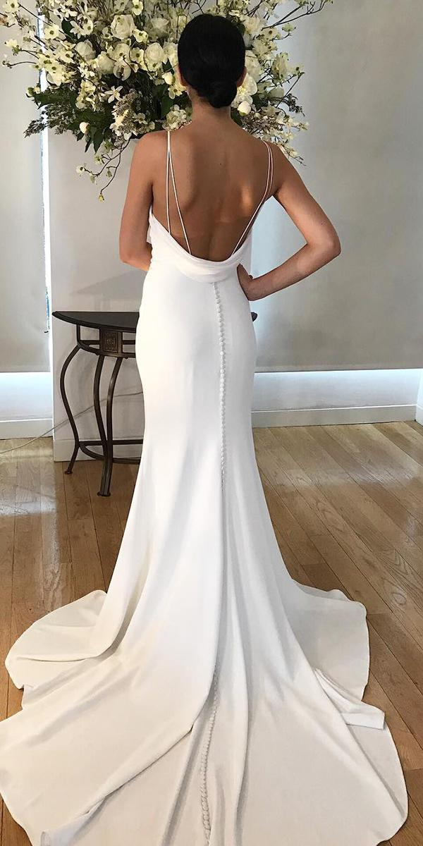 trumpet twedding dresses low back with spaghetti straps sexy kelly faetanini