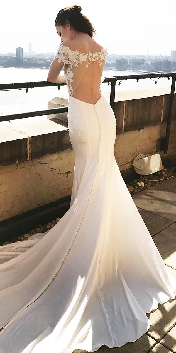 trumpet wedding dresses off the shoulder illusion open back floral appliques kelly faetanini