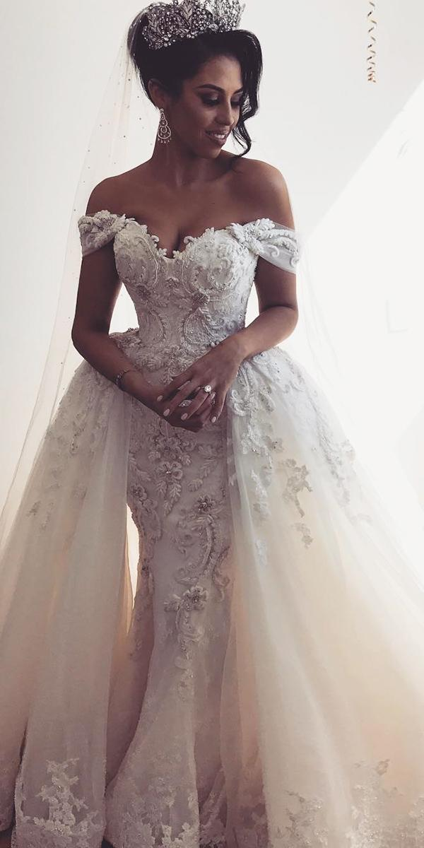 trumpet wedding dresses off the shoulder lace with overskirt leah da gloria
