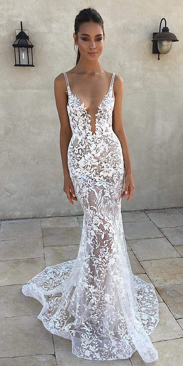 Trumpet wedding dresses plunging neckline with spaghetti for Very sexy wedding dresses