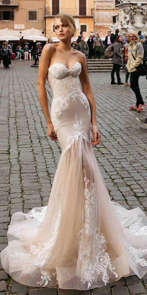 trumpet wedding dresses strapless floral blush innocentia dresses