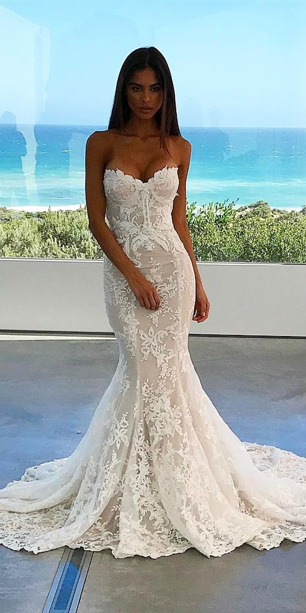 trumpet wedding dresses sweetheart full lace nektaria world