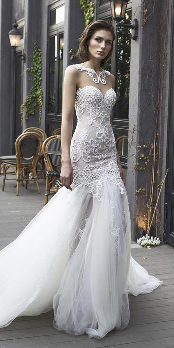 trumpet wedding dresses sweetheart lace embroidery tulle skirt riki dalal bridal