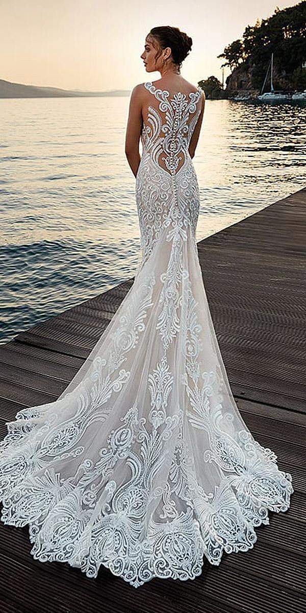 trumpet wedding dresses tattoo effect back full lace with train eddyk bridal