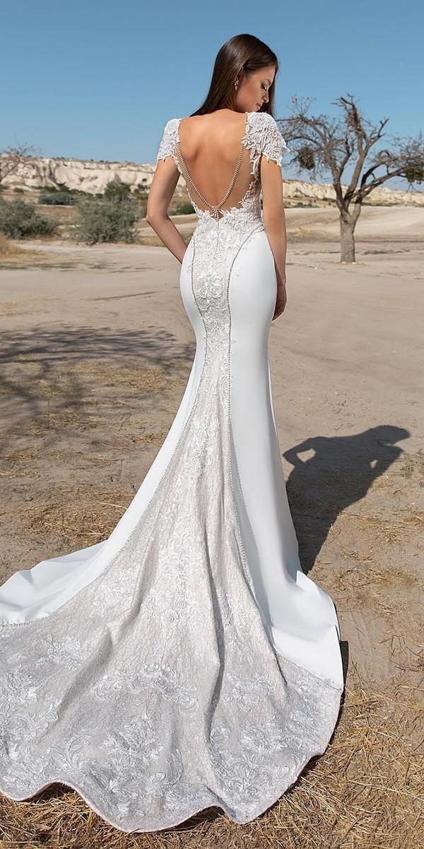 trumpet wedding dresses v back with cap sleeves lace eva lendel
