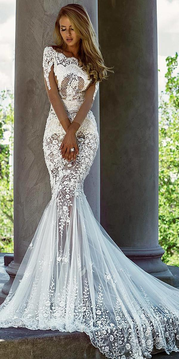 trumpet wedding dresses with illusion sleeves lace sexy train nektaria