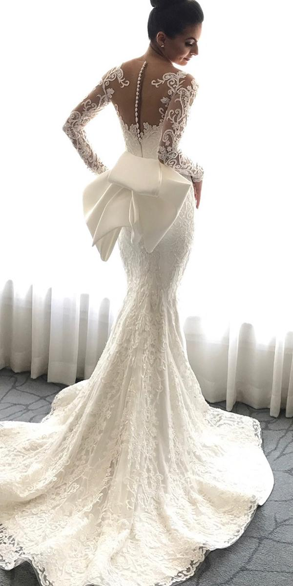 trumpet wedding dresses with long sleeves tattoo effect back with bow luxury steven khalil