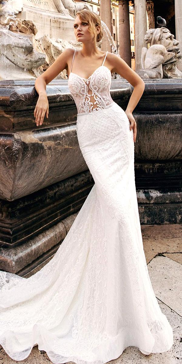 trumpet wedding dresses with spaghetti straps sweetheart lace innocentia dresses