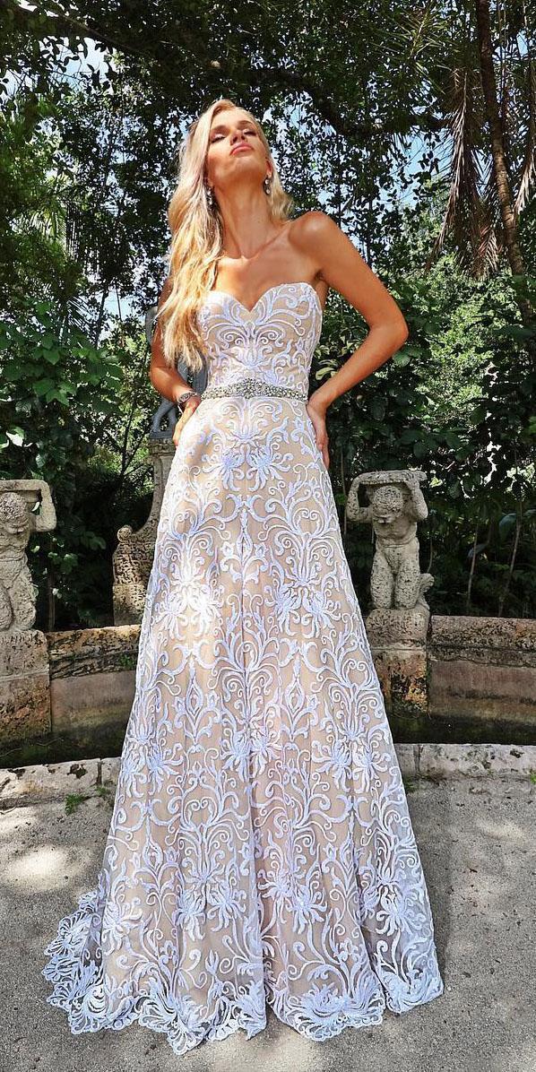 unique lace wedding dresses a line sweetheart beaded belt ashley justin bride