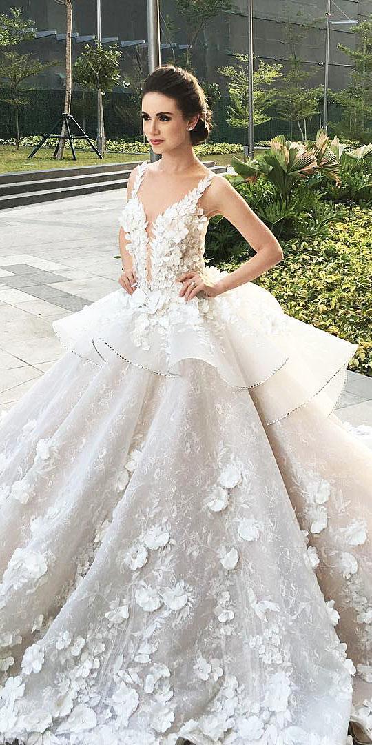 unique lace wedding dresses ball gown floral appliques deep v neckline mak tumang