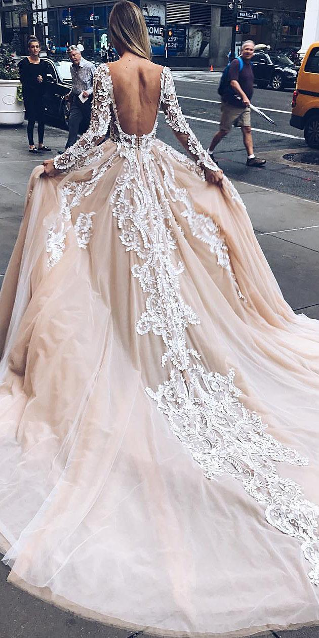 unique lace wedding dresses ball gown u bare with sleeves blush pallas couture