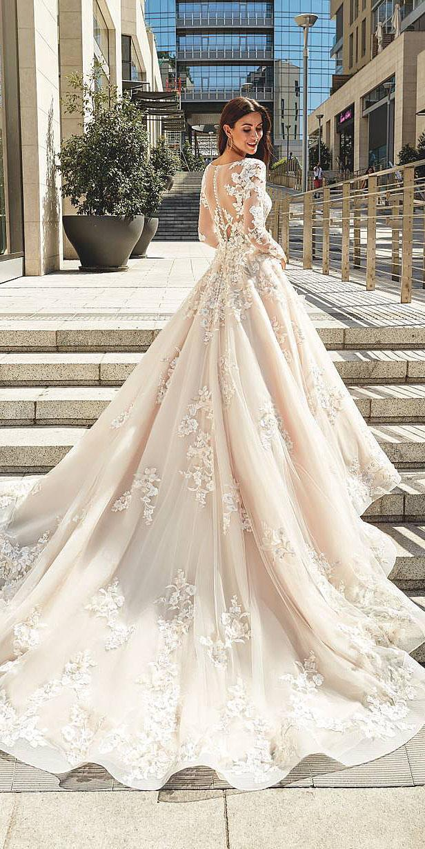 unique lace wedding dresses ball gown with illusion back long sleeves buttons beige eddyk bridal