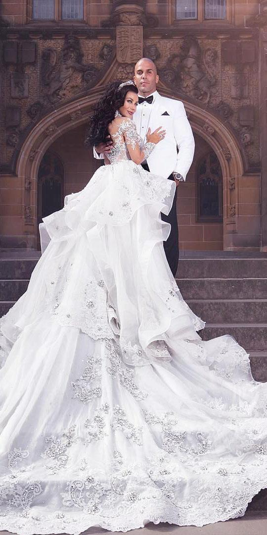 unique lace wedding dresses ball gown with long illusion sleeves ruffled skirt leah-da gloria
