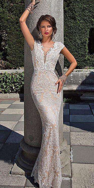 unique lace wedding dresses deep v neckline with cap sleeves 2018 diantamo