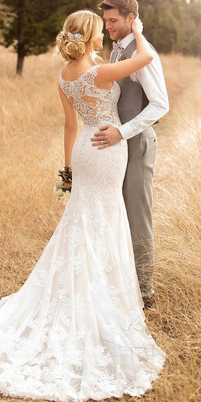 unique lace wedding dresses illusion back vintage 2018 essense of australia