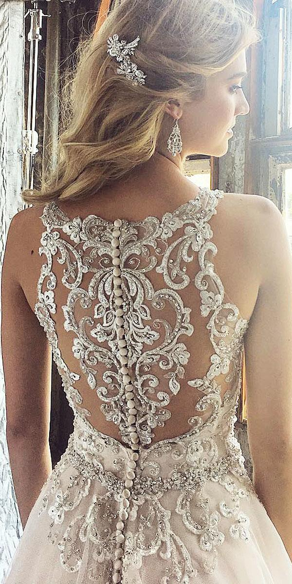 unique lace wedding dresses illusion back with buttons beaded mori lee official