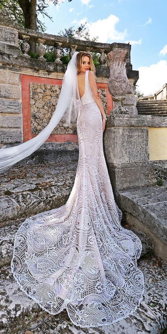 unique lace wedding dresses low back vintage ashley justin bride
