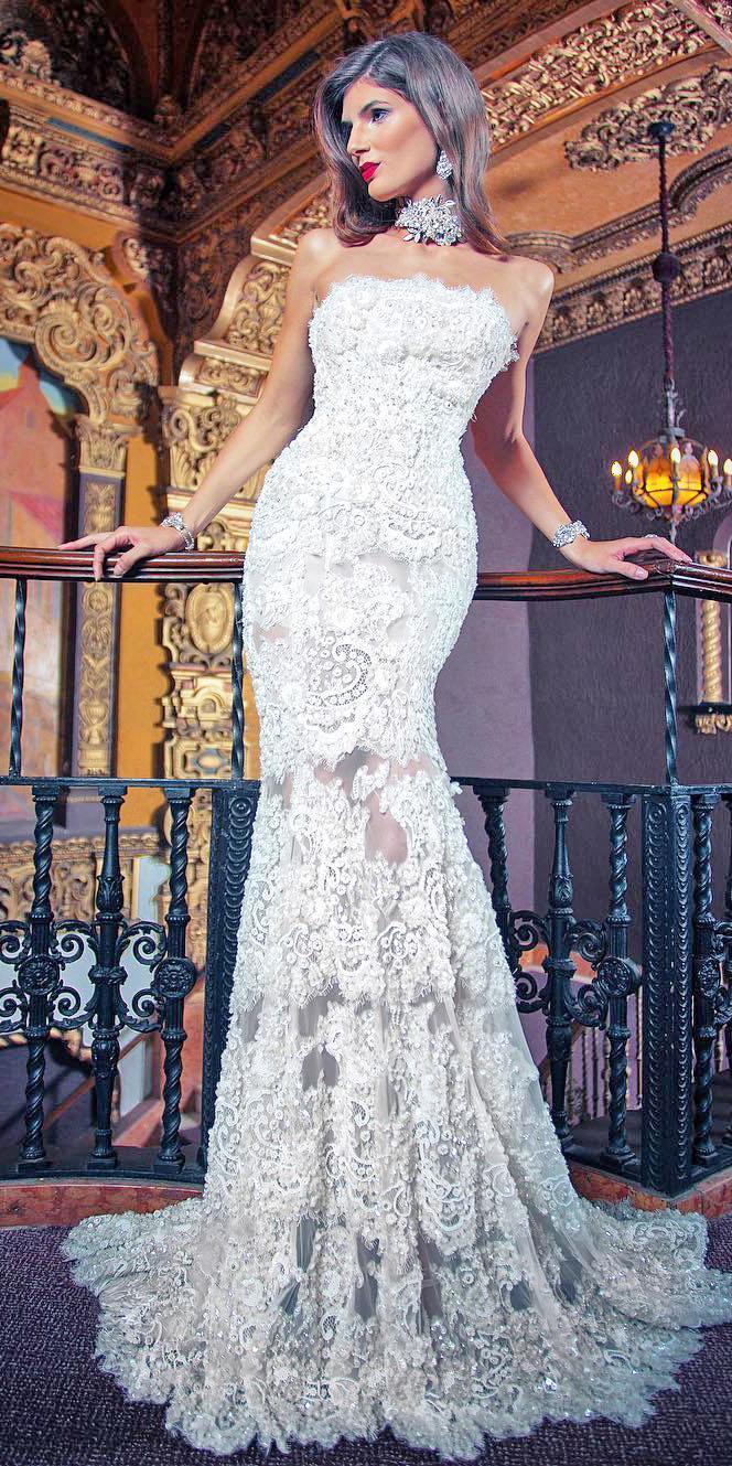 unique lace wedding dresses mermaid straight accross floral embellishment yumi katsura