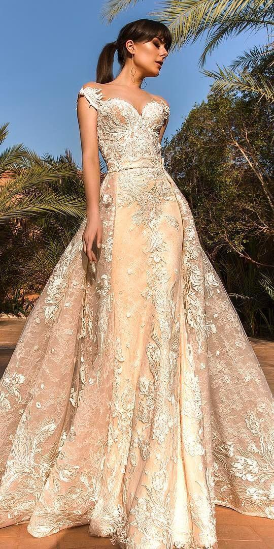 unique lace wedding dresses princess with cap sleeves sweetheart blush crystal design 2018