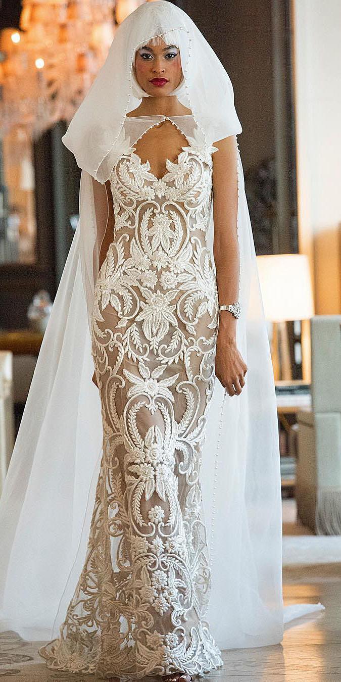 unique lace wedding dresses sheath v neckline floral embellishment nude yumi katsura