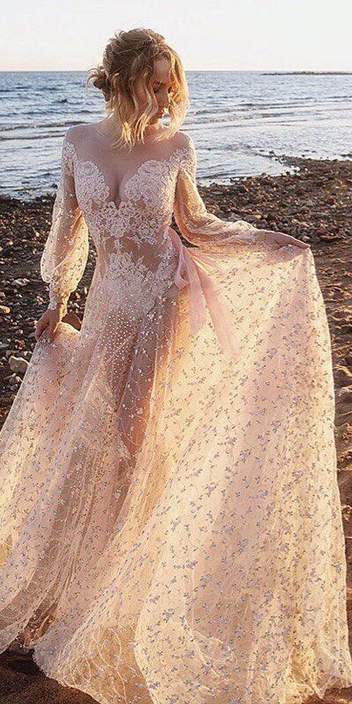 unique lace wedding dresses sheath with long sleeves flowing skirt malyarova olga
