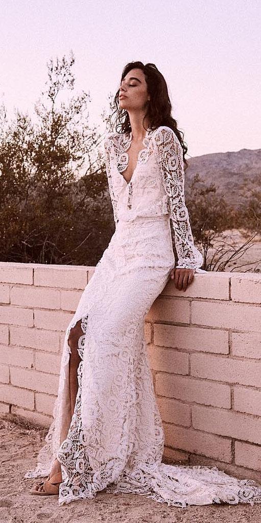 unique lace wedding dresses sheath with long sleeves v neckline bohemian laudae