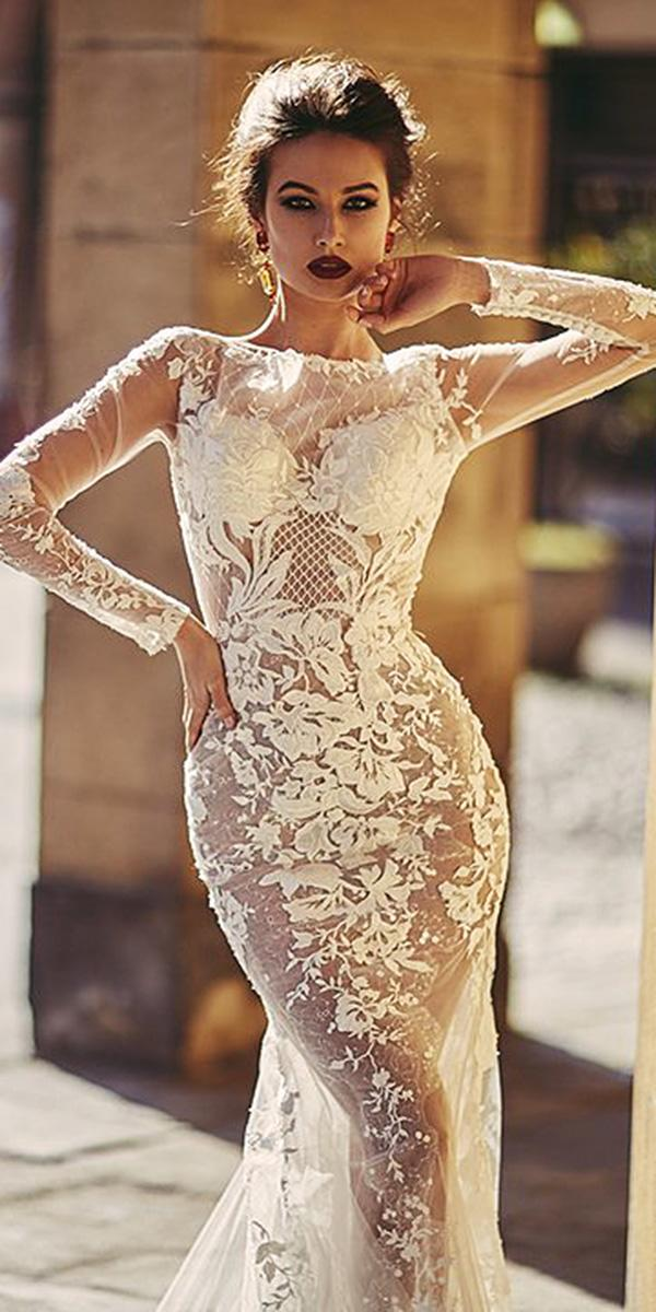 unique lace wedding dresses with illusion sleeves lace floral nude 2018 ladianto