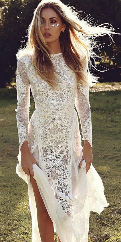 unique lace wedding dresses with long sleeves embellishment boho grace loves lace
