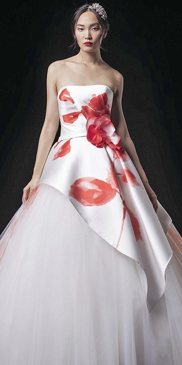valentini spose wedding dresses ball gown straight across red floral