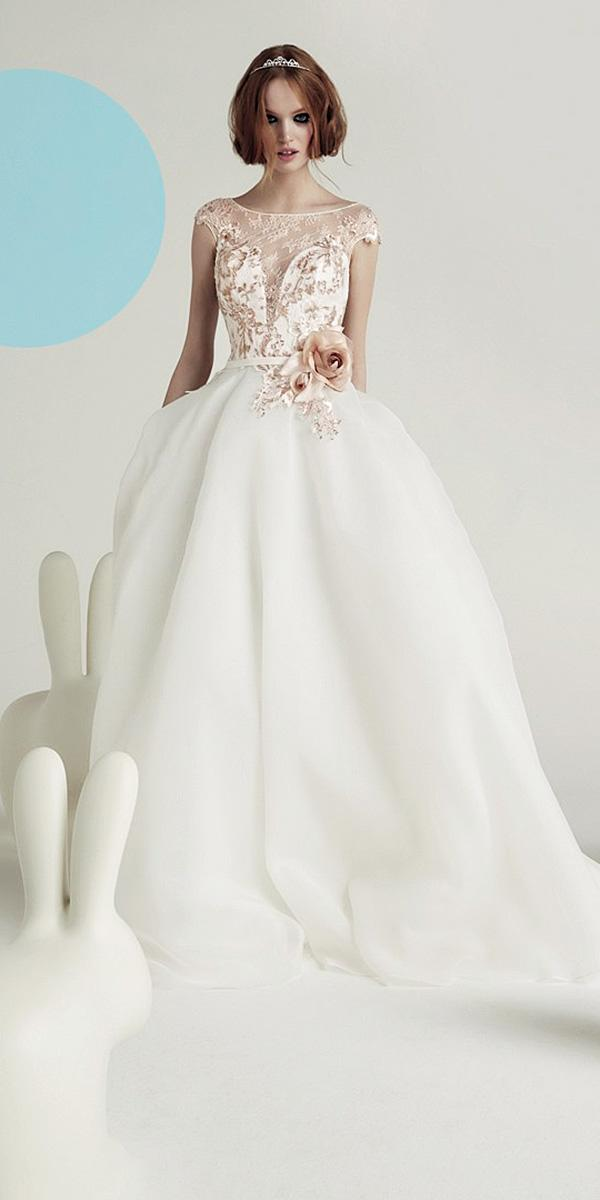 valentini spose wedding dresses ball gown with cap slleves illusion lace sweetheart floral appliques