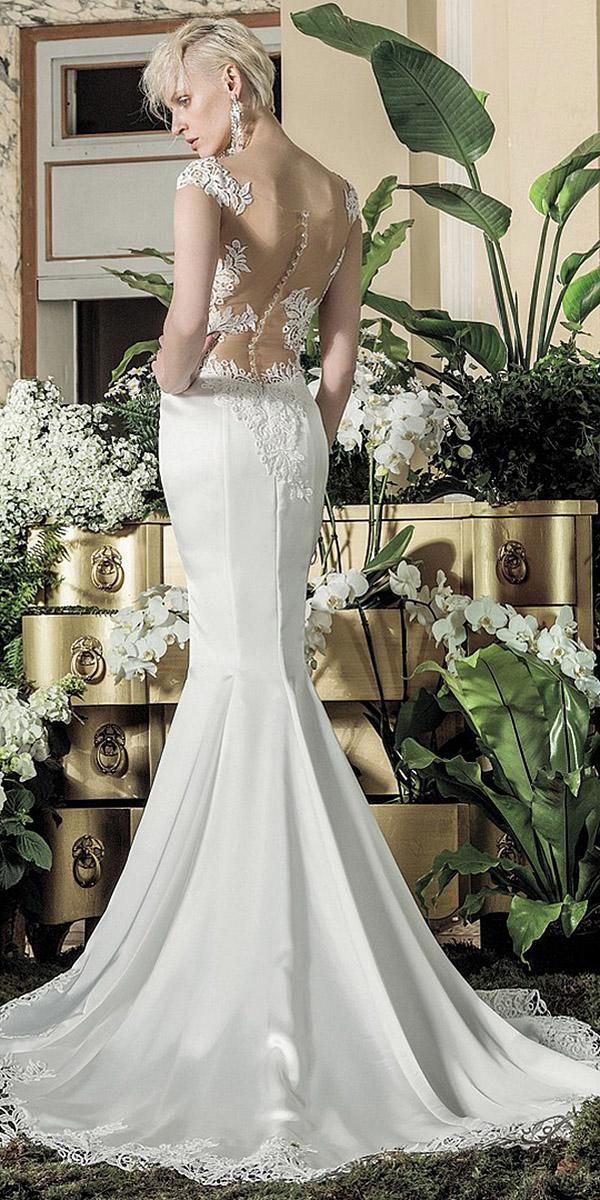 valentini spose wedding dresses mermaid illusin back with buttons satin skirt