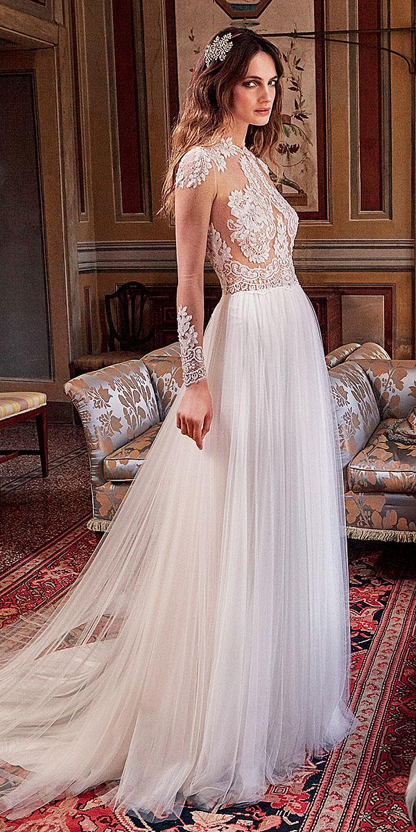 valentini spose wedding dresses sheath long illusion lace top with sleeeves nude tulle skirt 2018