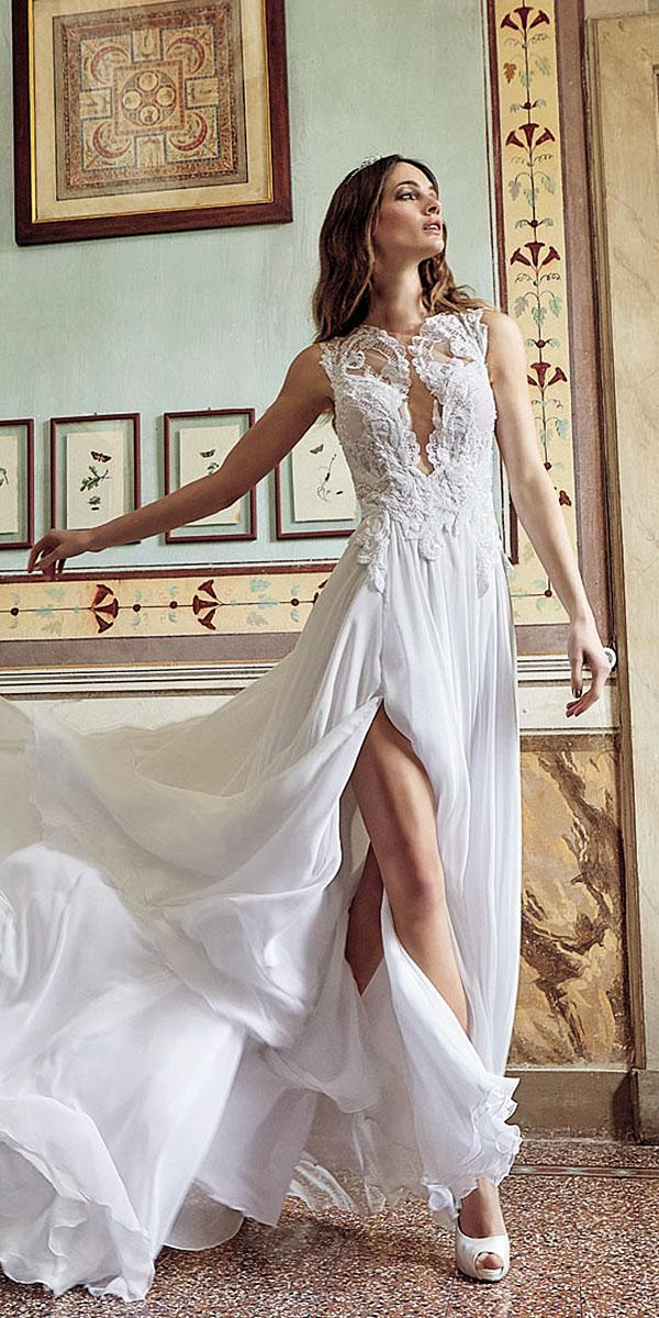 valentini spose wedding dresses sheath sleeveless deep v neckline long lace top 2018