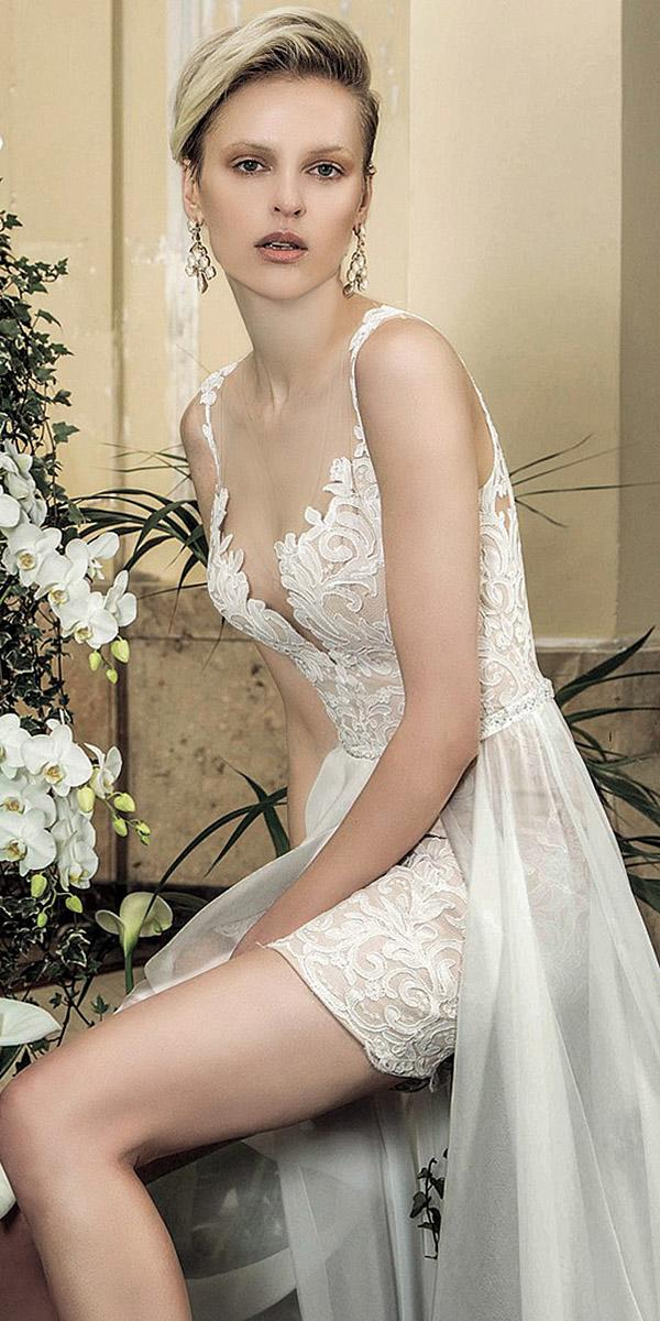 valentini spose wedding dresses with spaghetti straps short full lace 2018