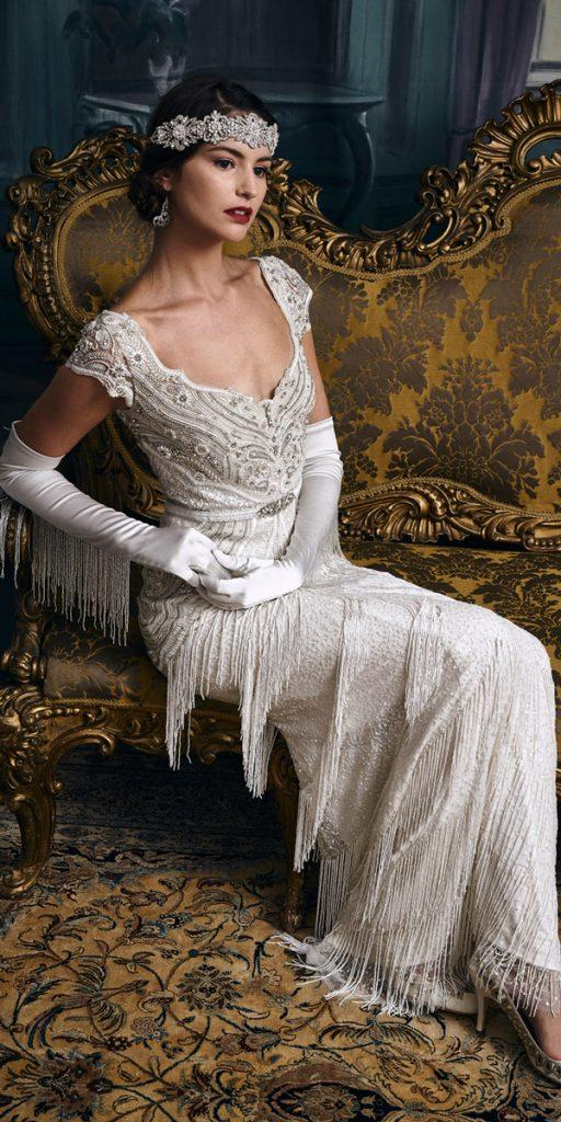 vintage wedding dresses 1920s gatsby sheath caps sleeves heavily embroidered eliza jane howell