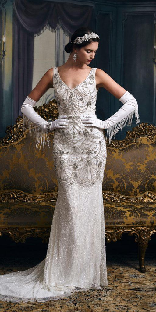 vintage wedding dresses 1920s gatsby sheath v neckline with straps heavily embellishment eliza jane howell