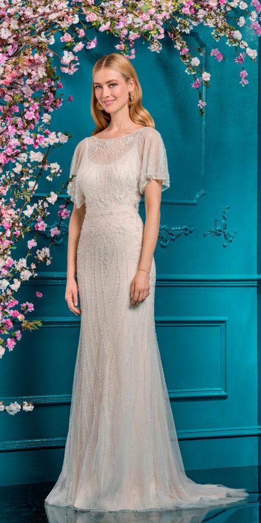 vintage wedding dresses 1920s sheath modest illusion neckline with sleeves ellis bridals