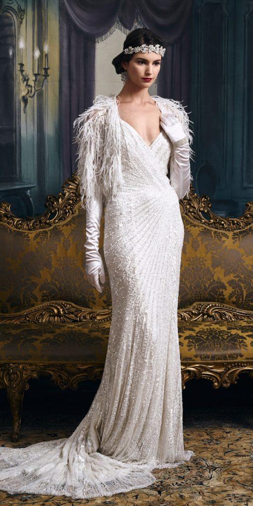 vintage wedding dresses 1920s sheath v neckline with jacket eliza jane howell