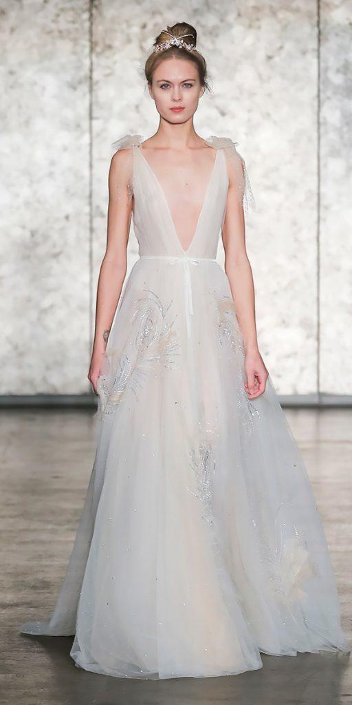 wedding dresses fall 2018 a line deep v neckline with shoulder bows inbal dror
