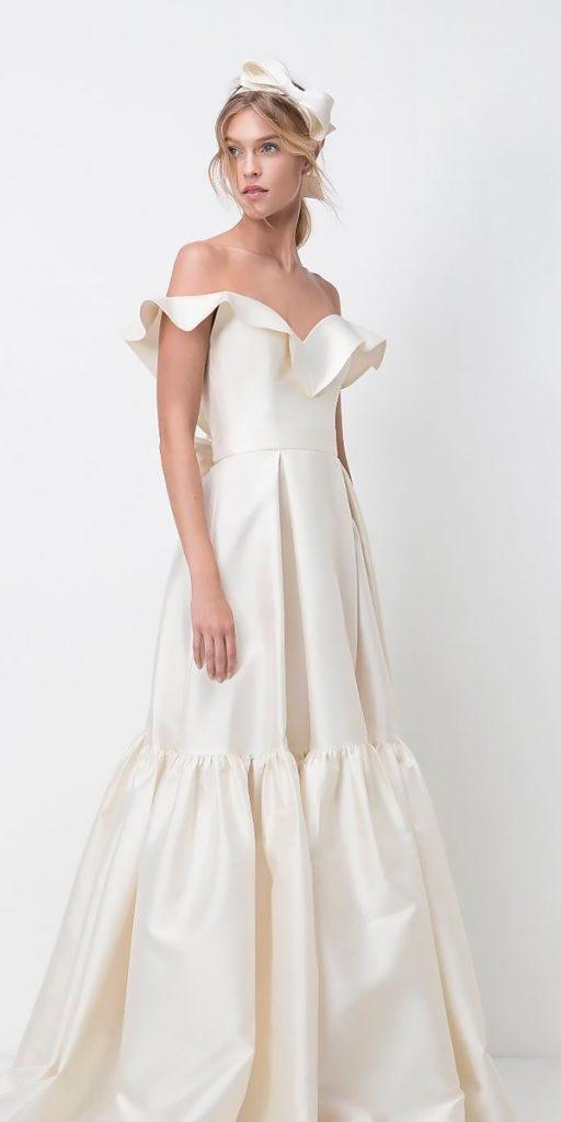 wedding dresses fall 2018 a line off the shoulder ivory simple modern lihi hod