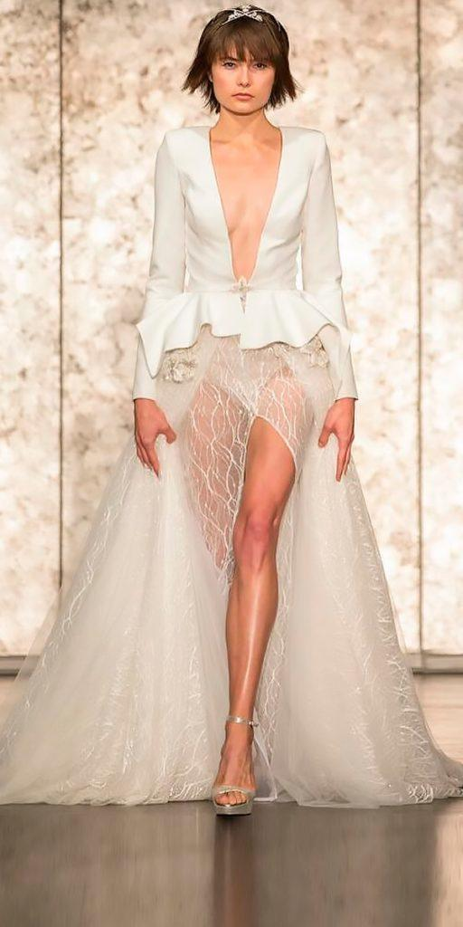 wedding dresses fall 2018 a line with jackets with plunging v neckline high slit long sleeves inbal dror