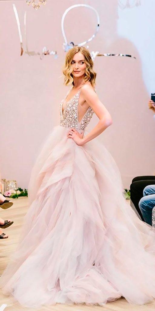 wedding dresses fall 2018 blush sleeveless heavily beaded bodice ruffled skirt miss hayley paige