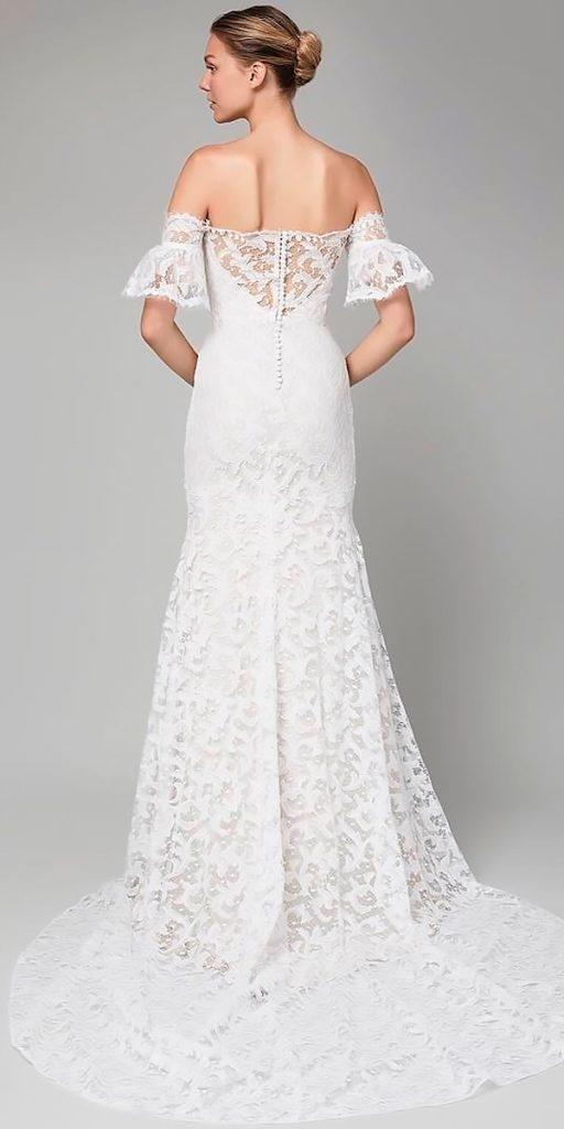 wedding dresses fall 2018 lace fit and flare off the shoulder with detached sleeves lela rose