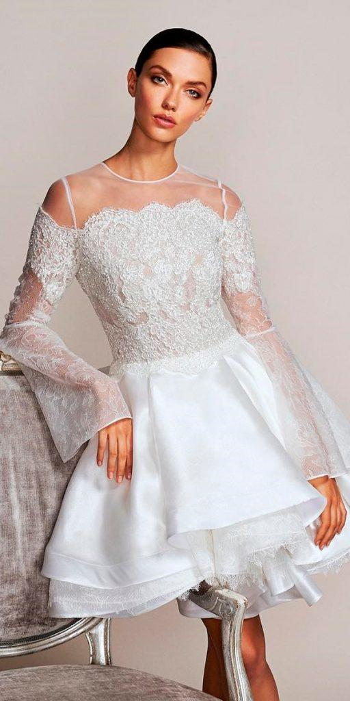 wedding dresses fall 2018 mini short lace illusion bodice layered skirt long sleeves gracy accad