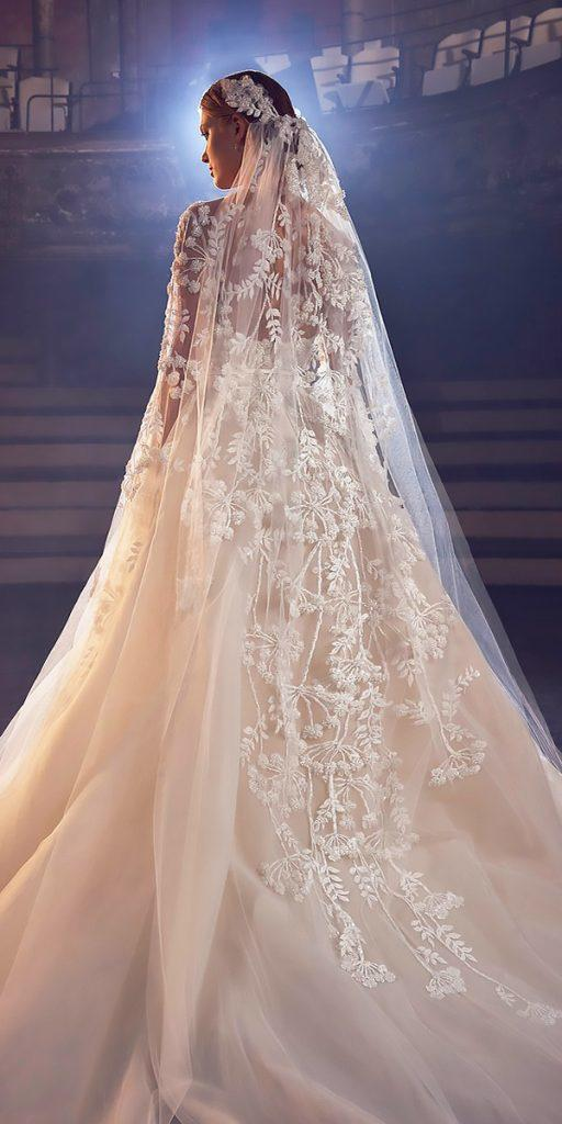 wedding dresses fall 2018 nude lace a line with veil long sleeves elie saab