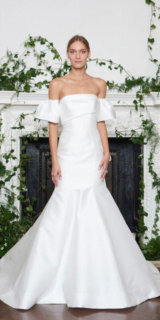 wedding dresses fall 2018 simple mermaid off the shoulder with detached slevees monique lhuillier