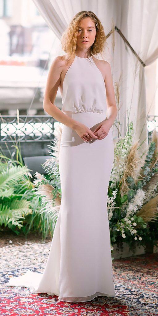wedding dresses fall 2018 simple modern halter neckline sheath alexandra grecco