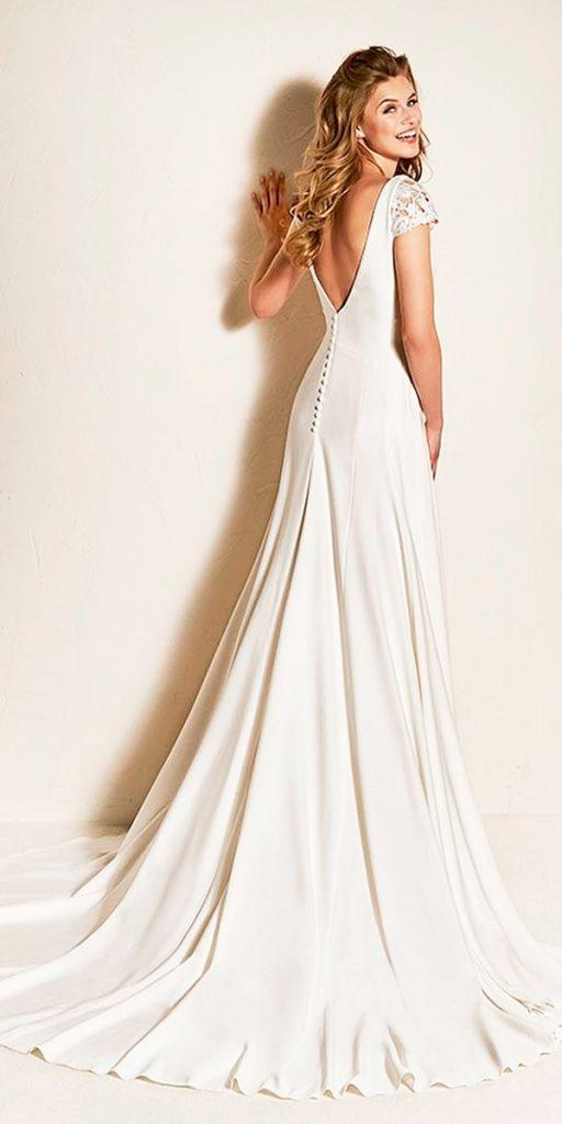 wedding dresses fall 2018 simple open back a line with short lace sleeves modern pronovias