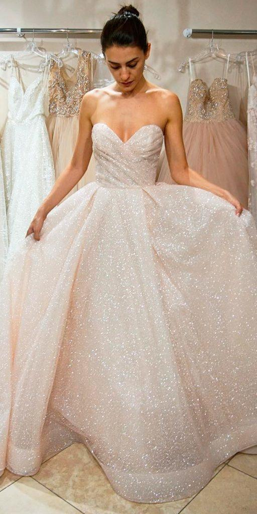 wedding dresses fall 2018 sparkle nude strapless sweetheart neckline a line lazaro bridal