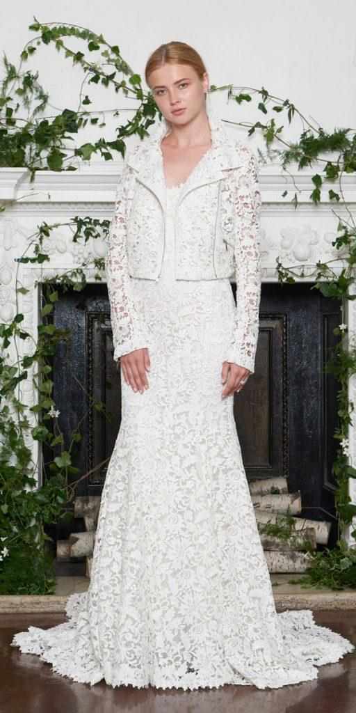 wedding dresses fall 2018 straight lace with jackets long sleeves monique lhuillier